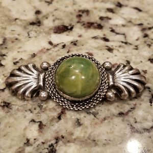 Sterling Silver Antique Amazonite Brooch 3x1.5